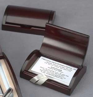 Business Card Holder CG69711 - Wooden (rosewood color) business card holder