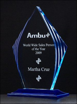 Acrylic Award A6727 - Flame series with blue accented upright and base