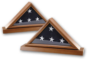 Triangle Flag Case with Glass Front SF10 - Solid Walnut Flag display Shadow Box.  Choose Large (4x8 in. flag), X-large (5X10 flag).