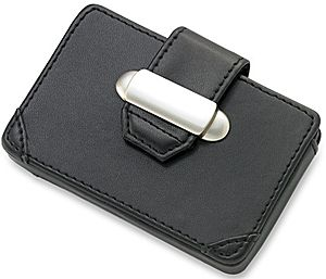 Business Card Case RO-CC13 - Black leatherette business card case.  Engrave with initials only.