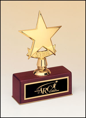 Star Award - 108 - Polished metal goldtone star casting on rosewood stained piano finish base.