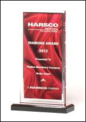 Acrylic Award A6873 - Deep red draped satin pattern with silver mirror border