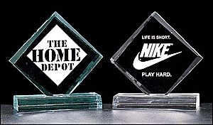 A334 Diamond Acrylic Award - This Diamond shaped Acrylic Award comes in 3 sizes and 2 different colors: Choose clear or jade