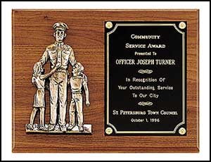 p1965 - Police award with antique bronze finish casting.