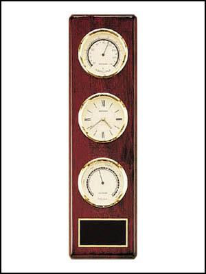 wp500-CBT - Weather station rosewood piano-finish includes: clock, thermometer and barometer